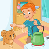 Young boy being wary of hot kettle. Vector illustration. Young boy with puppy being wary of hot kettle. Vector illustration Stock Images