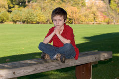 Young boy on bench royalty free stock photo