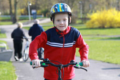 Young boy on bike. Royalty Free Stock Photography