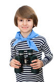 The young boy with binocular. A young boy with binocular, isolated on white background Stock Image