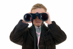 Young boy with binoculars Royalty Free Stock Photos