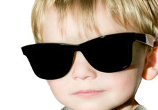 Young boy with black sunglasses Stock Images
