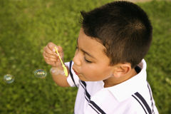 Young Boy Blowing Bubbles Stock Images