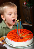 Young boy is blowing candles. On birthday cake Royalty Free Stock Photos