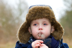 Young boy blowing seeds on a cold winters day Stock Images