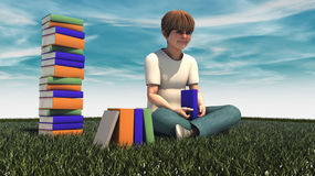 Young boy with book Stock Photo