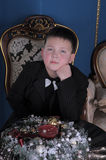Young boy with a bow tie at the neck Royalty Free Stock Images