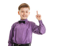 Young boy with a bow-tie showing thumb up isolated Stock Photography