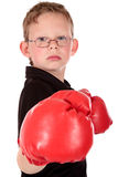 Young boy boxer. Young boy with boxing gloves, boxer working out, fitness  Studio shot Royalty Free Stock Images