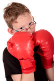 Young boy boxer. Young boy with boxing gloves, boxer working out, fitness  Studio shot Stock Photo