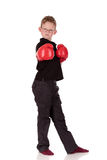 Young boy boxer. Young boy with boxing gloves, boxer working out, fitness  Studio shot Royalty Free Stock Photo