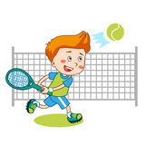 Young Boy. Boy Playing Tennis. Kids Tennis. Vector Illustration on White Background. Stock Photo