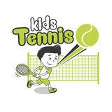Young Boy. Boy Playing Tennis. Kids Tennis. Vector Illustration on White Background. Tennis in College. Stock Photo