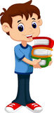 Young boy bring pile of books Stock Images
