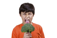 Young boy with broccoli Stock Photos