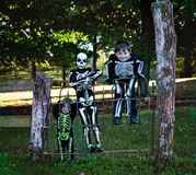Three little boys dressed as skeletons royalty free stock photos