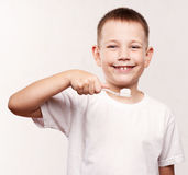 Young boy brushing his teeth Royalty Free Stock Photography