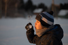 Young boy with bubbles Stock Image