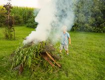 A young boy building a bonfire Stock Photography