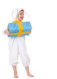 Young boy in a bunny suite with gift Stock Image