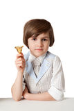 The young boy is calling by bell Stock Images