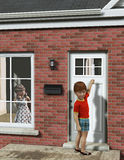 Young Boy Calling on Girl. Illustration of a young boy calling on a girl and is knocking on the door of her house Stock Photos