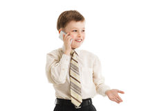 Young boy calling isolated. Businessman Royalty Free Stock Image