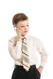 Young boy calling isolated. Businessman Royalty Free Stock Photography