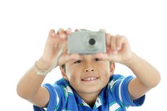 Young boy with camera Stock Images