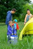 Young boy camping Royalty Free Stock Photos