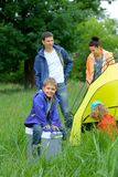 Young boy camping Stock Photo