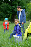 Young boy camping Royalty Free Stock Photo