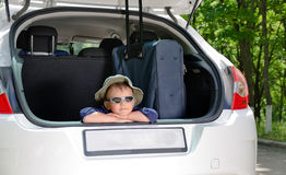 Young boy in car Royalty Free Stock Photos