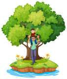 A young boy carried by his father near  tree. Illustration of a young boy carried by his father near the big tree on a white background Stock Photo