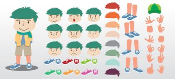 Young boy cartoon character creation set, emotions Stock Photo