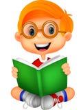 Young boy cartoon reading book Royalty Free Stock Photos