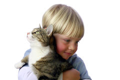 Young Boy with cat. Young boy with pet cat in arm stock photo