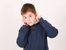 Young boy with cellular phone Royalty Free Stock Image