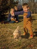 Young Boy Chasing Puppy Royalty Free Stock Photos