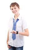 Young boy checking his watch Royalty Free Stock Photography