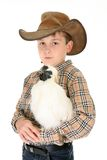 Young Boy and Chicken Royalty Free Stock Image