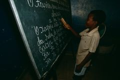 A young boy in a classroom in Rwanda. Royalty Free Stock Photography