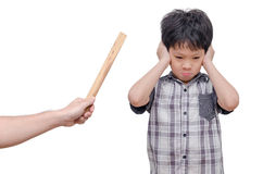 Young boy close his ears by hands Stock Photos