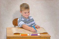 Young Boy Coloring Stock Image