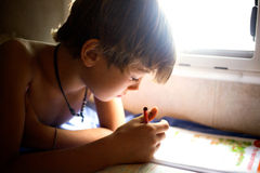 Young boy concentrating on homework Royalty Free Stock Photo