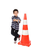 Young boy with cone road signal Stock Photography