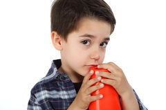 Young boy with cone road signal Royalty Free Stock Photos