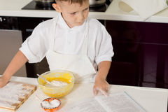 Young boy cook checking ingredients Royalty Free Stock Photography