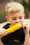 Young boy with  corn on the cob in the backyard. A  boy happy ab Stock Photography