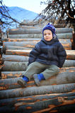 Young boy in the country side Stock Photo